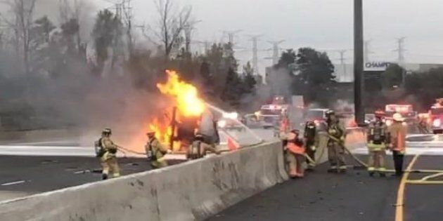 Two people have been killed in a crash that sparked a tanker fire on a Toronto highway on Oct. 31,