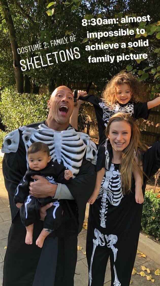 Dwayne Johnson, his partner Lauren Hashian, and their two kiddos.