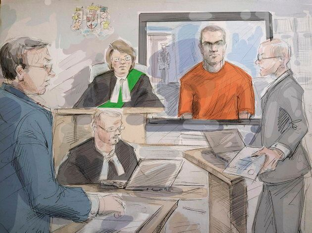 Defense lawyer Boris Bytensky, left to right, Justice Ruby Wong, Alek Minassian and Crown prosecutor...