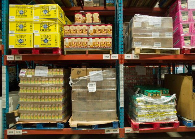 Pallets of food are shown at the Welcome Hall Mission food bank in Montreal on March 14, 2017.