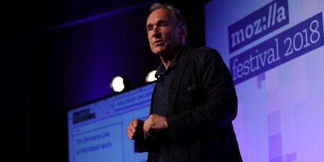 World Wide Web founder Tim Berners-Lee speaks at the Mozilla Festival 2018 in London, U.K., Oct. 27....