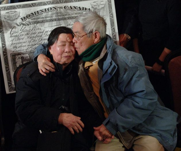 Chinese-Canadian couple after a 2006 throne speech promised a head tax redress for 62 years of racism brought on by the tax and Chinese Exclusion Act.