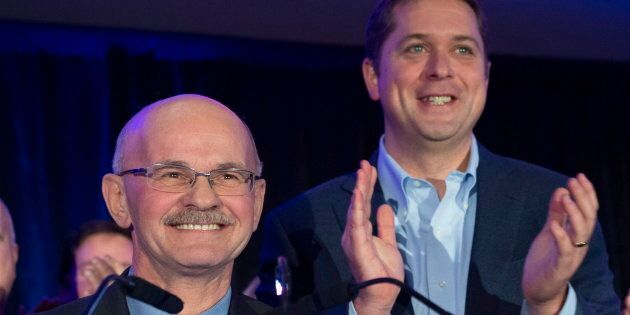 Conservative Leader Andrew Scheer with Richard Lehoux, candidate in the Beauce riding on Nov. 3, 2018...