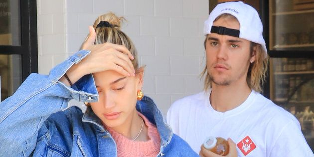 Hailey Baldwin and Justin Bieber are seen in Los Angeles on Oct. 15,