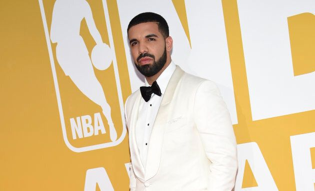 Drake arrives at the NBA Awards at Basketball City at Pier 36 on June 26, 2017, in New