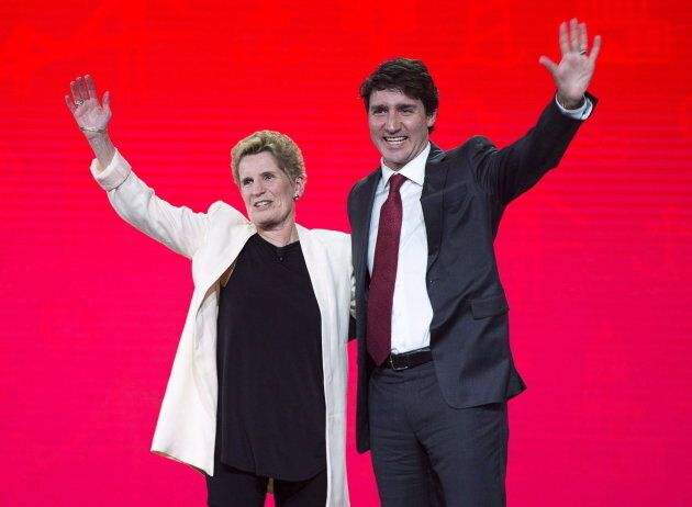 PM Trudeau and former Ontario Premier Kathleen Wynne at the federal Liberal national convention in Halifax...