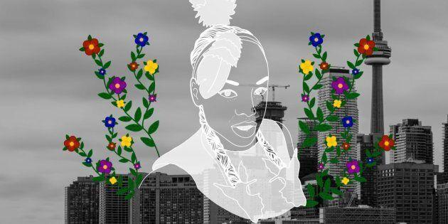 Nenookaasi Ogichidaa over the city of Toronto. Portrait by Nalakwsis.