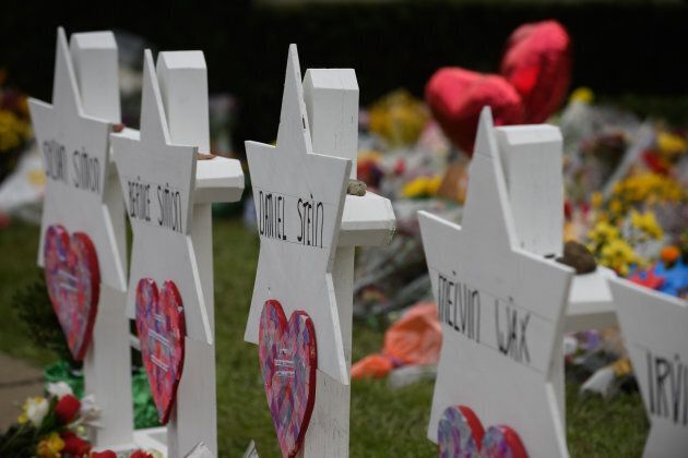 A memorial for victims of the mass shooting that killed 11 people and wounded six at the Tree Of Life Synagogue on Oct. 29, 2018 in Pittsburgh, Penn.
