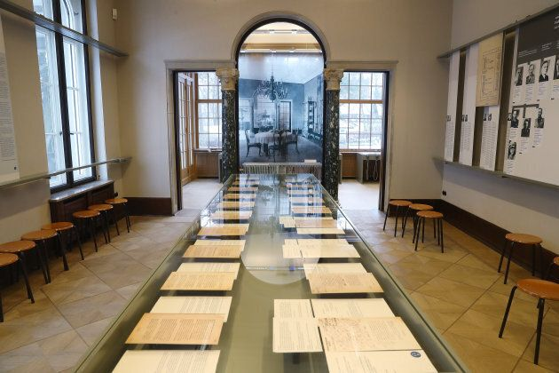 """An exhibit of documents at the site of the Wannsee Conference, where leading members of Adolf Hitler's Third Reich met to agree on """"The Final Solution of the Jewish Question,"""" setting the Holocaust into motion."""