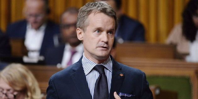 Minister of Veterans Affairs Seamus O'Regan rises during question period in the House of Commons on Parliament...