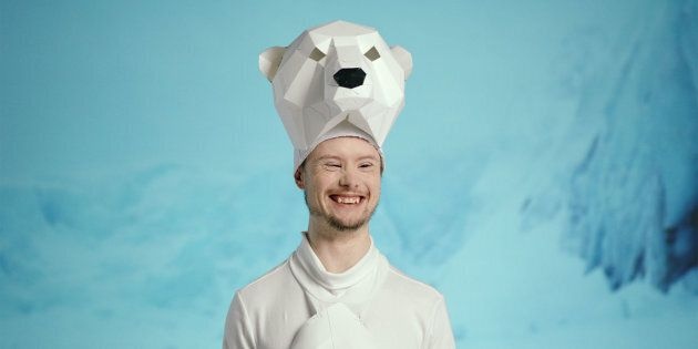 Dylan Harman plays a polar bear in the Canadian Down Syndrome Society's new campaign.