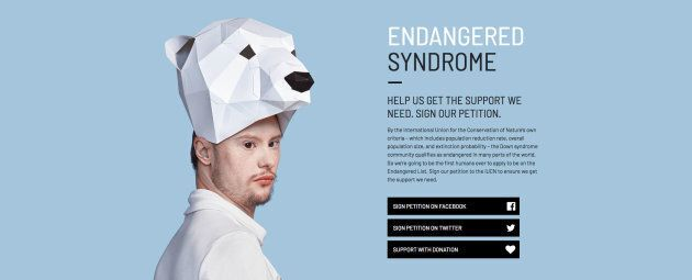 "Dylan Harman poses for the Canadian Down Syndrome Society's ""Endangered Syndrome"" campaign."