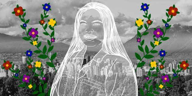 Adina Williams over the City of Vancouver. Portrait by Nalakwsis.