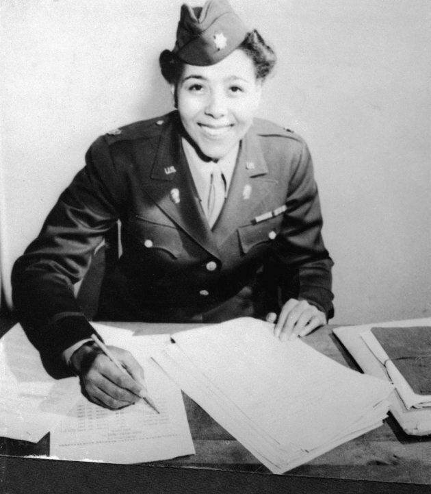 Maj. Charity Adams, commanding officer of the Women's Army Corps. Postal Battalion.