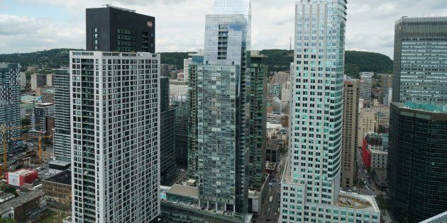 Condo and office towers on the west side of downtown Montreal.
