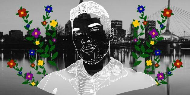 Quinton Delorme over the city of Winnipeg. Portrait by Nalakwsis.