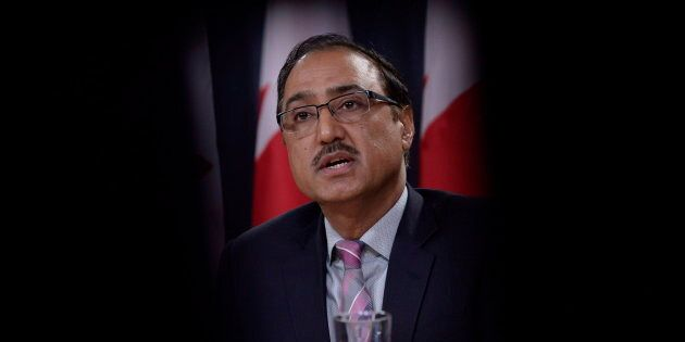 Natural Resources Minister Amarjeet Sohi addresses a news conference in Ottawa on Oct.3,