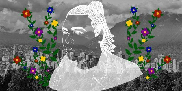 jaye simpson, portrait by Nalakwsis over the City of Vancouver
