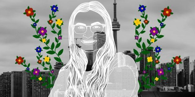 Amy Hull over the city of Toronto. Portrait by
