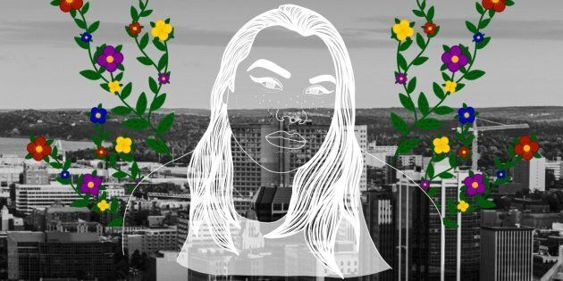 Arielle Twist over the city of Halifax. Portrait by Nalakwsis.
