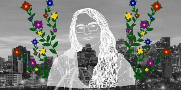 Molly Swain over the city of Edmonton. Portrait by Nalakwsis.