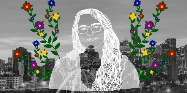 Molly Swain over the city of Edmonton. Portrait by Nalakwsis.