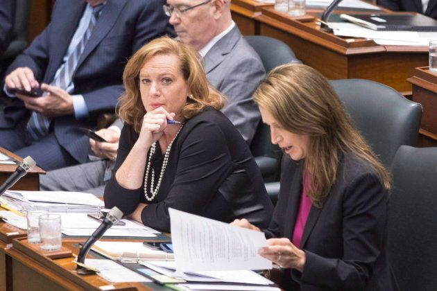 Minister of Children, Community and Social Services Lisa MacLeod and Ontario Attorney General Caroline Mulroney attend Question Period in Toronto on Aug. 9, 2018.