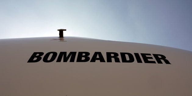 The logo of Bombardier is seen during the Latin American Business Aviation Conference & Exhibition fair...