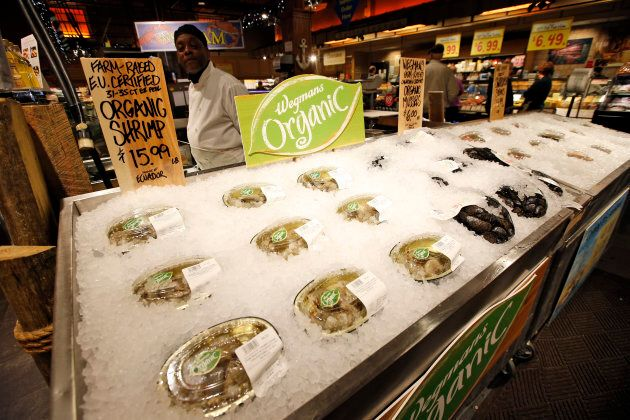 EU certified organic farm-raised shrimp and Canadian certified organic mussels are for sale on at a Wegmans...