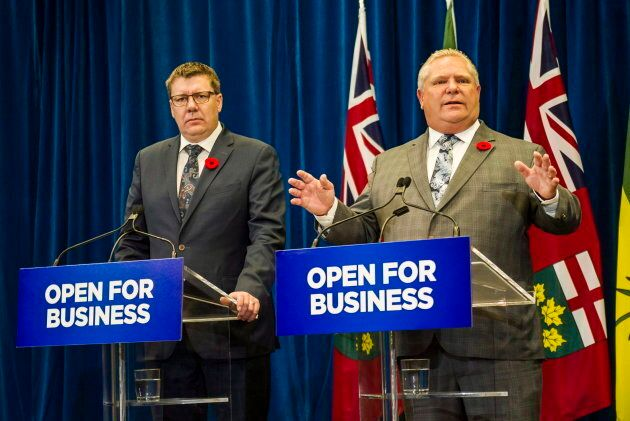 Saskatchewan Premier Scott Moe, left, and Ontario Premier Doug Ford hold a joint news conference on Oct. 29, 2018.