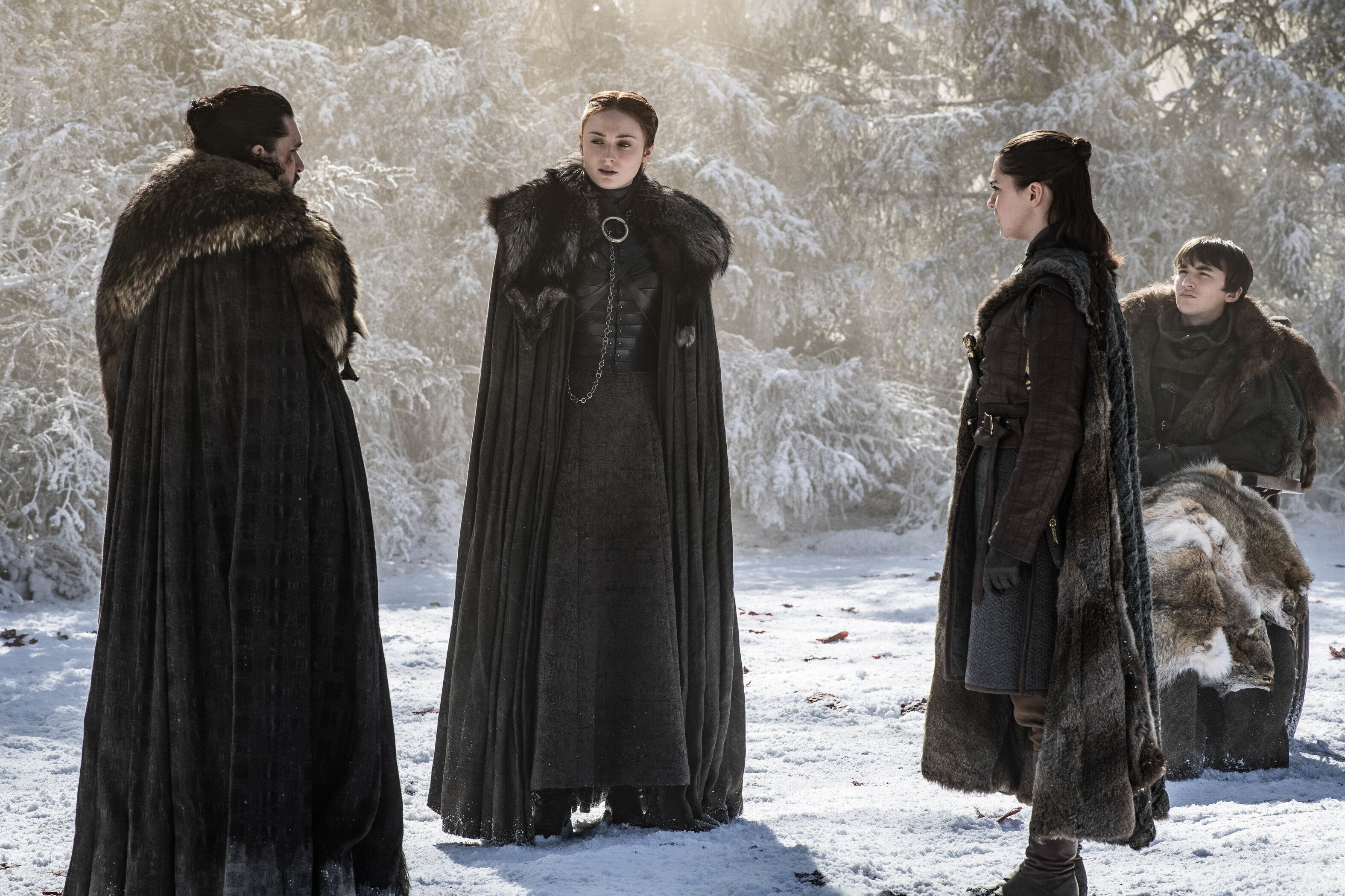 The Starks hearing about Jon's real parents.