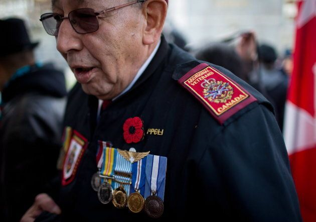 Korean War veteran Allen Derouin, 77, of the Ojibwe First Nation in Hudson, Ont., attends a National...