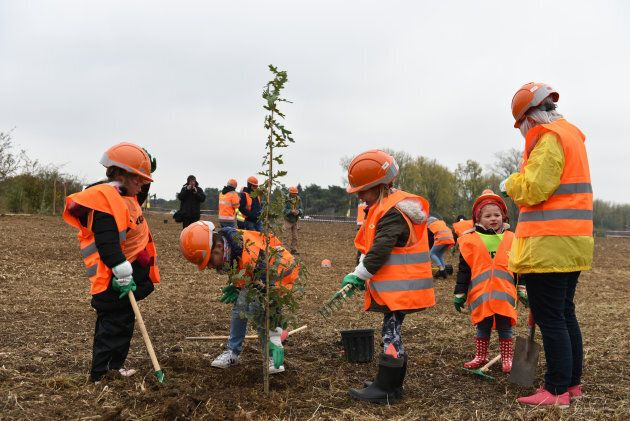 French school children from town of Givenchy-en-Gohelle assisting in planting the Vimy Oak trees on Oct. 29, 2018.