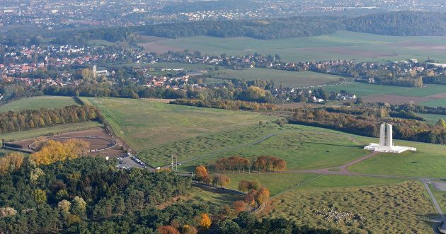 An overhead view of Vimy Ridge, including the Canadian National Vimy Memorial on the right and the Vimy...