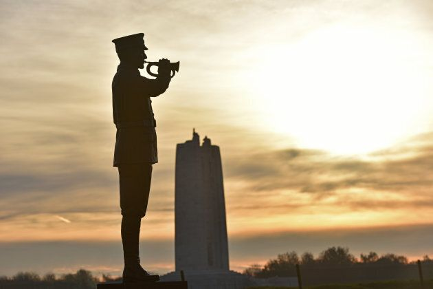 A replica bugler statue, a copy of one on CFB Borden, greets visitors to the new park. The Canadian National Vimy Memorial can be seen in the background