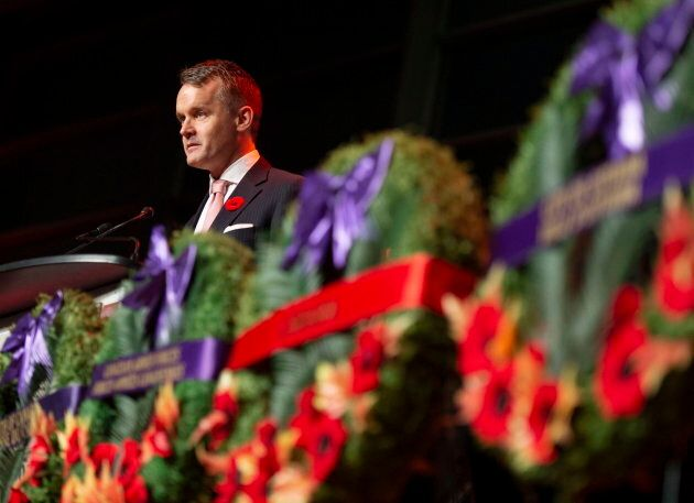 Minister of Veterans Affairs Seamus O'Regan speaks during the Candlelight Tribute for Veterans at the...