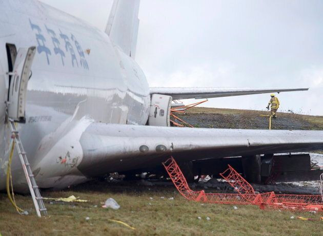 A SkyLease Cargo plane skidded off a runway at Halifax Stanfield International Airport and stopped near...