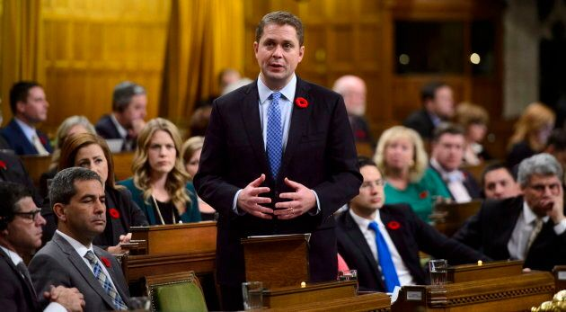 Conservative Leader Andrew Scheer delivers a statement in the House of Commons on Nov. 7,
