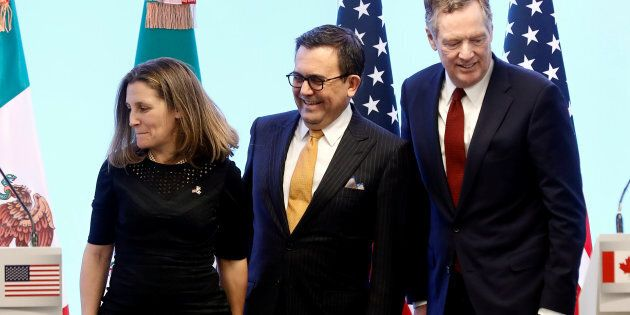 Foreign Minister Chrystia Freeland with then-Mexican Economy Minister Ildefonso Guajardo and U.S. Trade Representative Robert Lighthizer at a joint news conference on the closing of the seventh round of NAFTA talks in Mexico City, Mexico, March 5, 2018.
