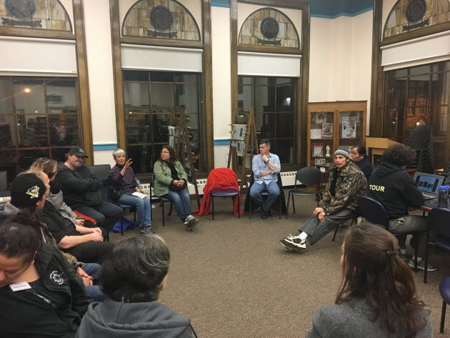 Disrupt holds a community meeting at a library in Thunder Bay,
