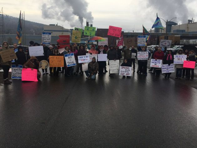 Disrupt members protest PC policies during Premier Doug Ford's October visit to Thunder Bay,