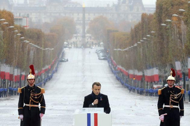 French President Emmanuel Macron delivers a speech during a commemoration ceremony for Armistice Day...