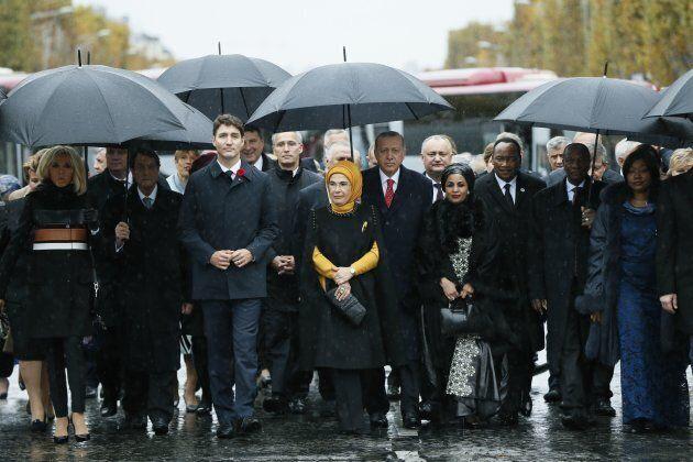 From left: French President's wife Brigitte Macron, Cyprus' President Nicos Anastasiades, Prime Minister...