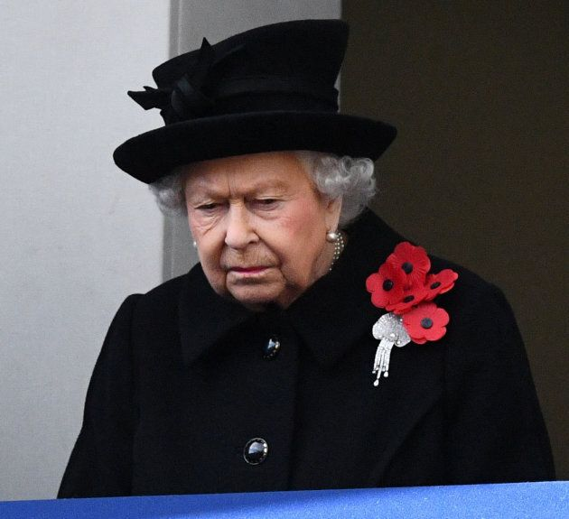 Queen Elizabeth at The Cenotaph on Sunday morning.
