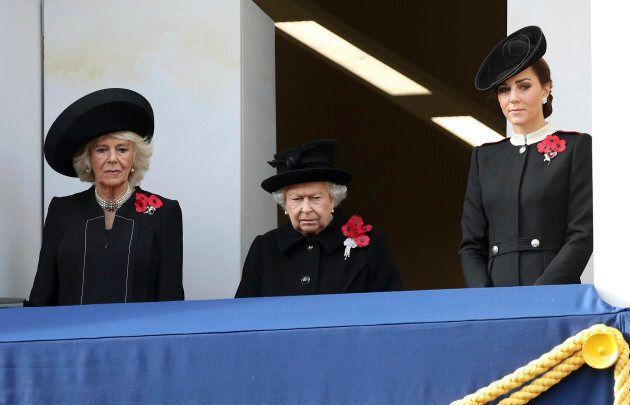 Camilla, Duchess of Cornwall, Queen Elizabeth II, and Catherine, Duchess of Cambridge.