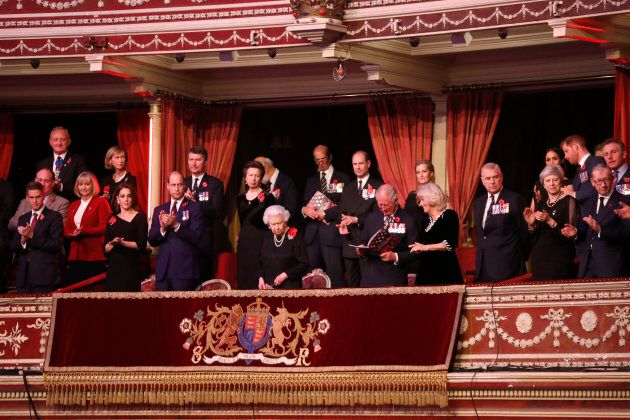 Queen Elizabeth II with Kate Middleton, Prince William, Vice Admiral Sir Tim Laurence, Princess Anne, Prince Michael of Kent, Prince Edward, Prince Edward, Prince Charles, Sophie, Countess of Wessex, Camilla, Duchess of Cornwall, Prince Andrew, Meghan, Duchess of Sussex, Prime Minister Theresa May, Prince Harry, and Philip May attend the Royal British Legion Festival of Remembrance at the Royal Albert Hall on Saturday.