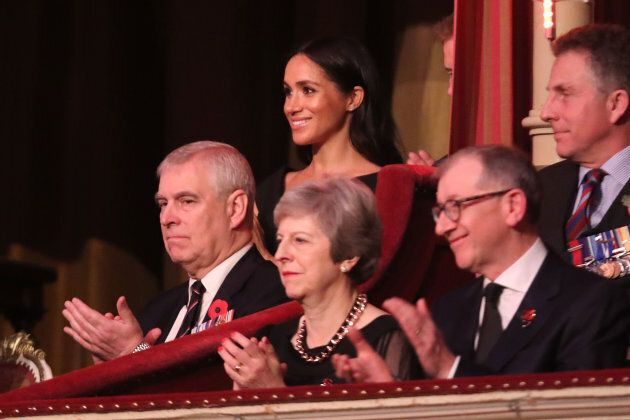 Prince Andrew, Duke of York, Prime Minister Theresa May with husband Philip May, Meghan, Duchess of Sussex and Prince Harry, Duke of Sussex attend the Royal British Legion Festival of Remembrance.
