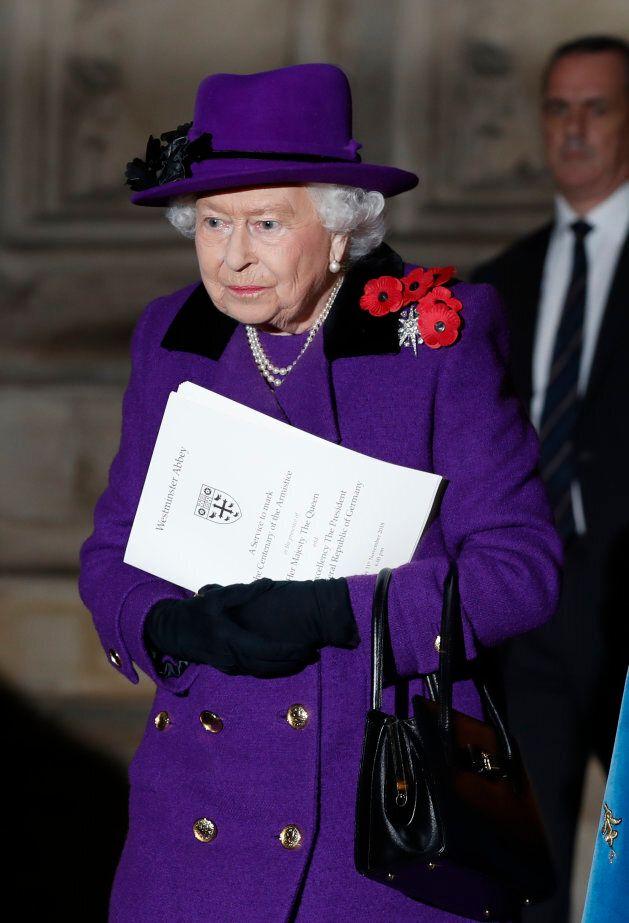 Queen Elizabeth II leaves Westminster Abbey.