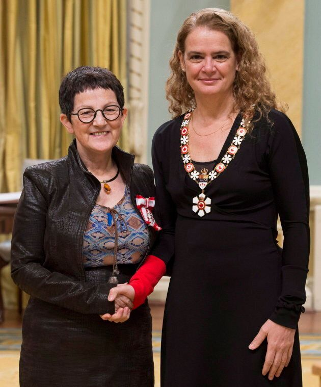 Métis doctor and researcher Judith Bartlett, left, being invested as a member of the Order of Canada by Governor General Julie Payette on Jan. 24, 2018 in Ottawa.
