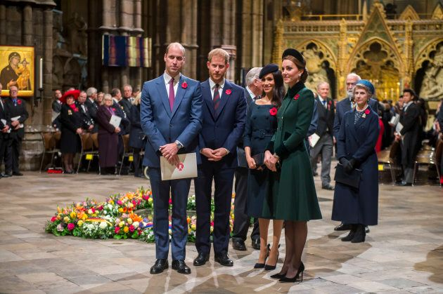 The Duke and Duchess of Cambridge and the Duke and Duchess of Sussex attend a National Service to mark the centenary of the Armistice at Westminster Abbey.